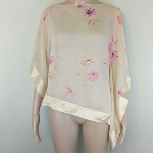 [Banana Republic] Silk Floral Ribbon Trim Blouse